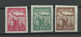 LETTLAND Latvia 1919 Michel 25 - 27 Y (Zigarettenpapier) MNH/MH - Lettland
