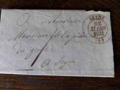 Lot Du 21.04.2017_LAC De Seynes (5),ecrite  A ST- Vincent  Pour Seynes Taxe 1 Decime Du 22 Mars 1822 - Marcophilie (Lettres)