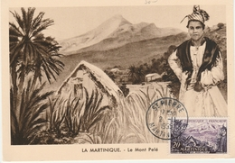 Saint-Pierre Martinique 1955 - Carte-maximum Mont Pelé - Volcan - Martinique (1886-1947)