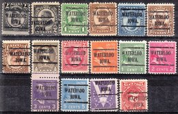 USA Precancel Vorausentwertung Preos Locals Iowa, Waterloo 225, 16 Diff. Perf. 2 X 10x10, 13 X 11x10 1/2, 1 X 11x11