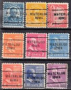 USA Precancel Vorausentwertung Preos Locals Iowa, Waterloo 703, 9 Diff., Perf. 11x10 1/2