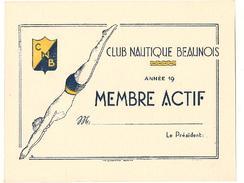 Beaune - Carte Vierge De Natation - Club Nautique Beaunois - Membre Actif - Swimming