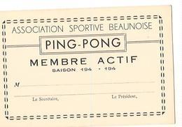 Beaune - Carte Vierge De Ping Pong - Association Sportive Beaunoise - Membre Actif - Tischtennis