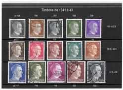 Timbres D' Allemagne 1941 / 43 _  Lot De 15 Timbres à L' Effigie D' Hitler - Oblitérés