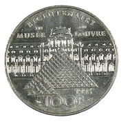 100 Francs - France - Bi Centenaire . Louvre -  Argent 900/..- 1993  - TTB+ - - France