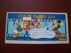 Lettre Illustrée Couverture Du Carnet Fête Du Timbre 2004 Avec Le N°3641 Mickey Circulée De Faverges Le 5/4/2005  TB - Comics
