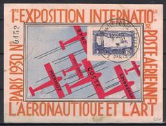 1930 - PERFORATION EIPA 30 Sur TIMBRE POSTE AERIENNE PA N° 6 (SIGNE CALVES) Sur CARTE EXPOSITION AERONAUTIQUE ET ART - Poste Aérienne