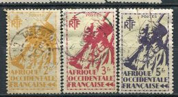 AOF -  Yv.  N°  14,16,19  (o) 2f,3f,5f  Tirailleur   Cote  1,3  Euro BE - A.O.F. (1934-1959)