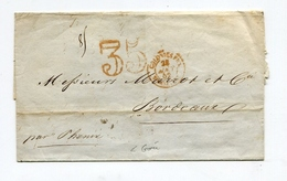 !!! MARQUE POSTALE COLONIES PAR MARSEILLE + TAXE 35 SUR LETTRE SANS TEXTE DE 1852 EN PROVENANCE DE GOREE ( SENEGAL ) - Marcophilie (Lettres)