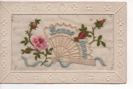 BONNE ANNEE 1925 - Ajoutis Sur Voile Très Fin  ( Lin ? ) Brodée Tissus, Laine - Carte Façon Cadre, RARE,  SUPERBE - Neujahr