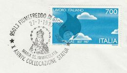 1987 ITALY COVER RELIGION EVENT Pmk  MARIA SS IMACOLATA  STATUE , Gas ITALGAS GAS CO Stamps Energy - Christianity