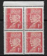 PETAIN -   N°  514 ** Bloc De 4  Faux Intelligence Service - 1941-42 Pétain