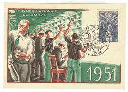 France // Carte Maximum // Journée Du Timbre 1951 Avec Le Cachet De Lyon - Cartes-Maximum