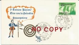 Sansepolcro, Arezzo, 16.7.1972. Balestra 7° Torneo Nazionale Di Tiro.  Annullo Figurato Su Busta. - Tiro (armi)