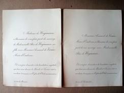Faire-part Du Mariage D'Alice De Wegmann & Armand De Visme, Maire D'Eaubonne, 1898. - Mariage