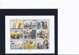"""1 Feuillet BD 1989-1999 (Tintin, Buck Danny...) +prospectus """"Philatélie De La Jeunesse"""" Schtroumpf Timbre 1984 Non Oblit - Belgique"""