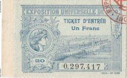 TICKET D'ENTREE De L'EXPOSITION UNIVERSELLE De 1900_ En PARFAIT ETAT - Toegangskaarten