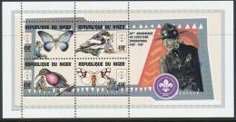 République Du Niger - Bloc Papillon - Oiseaux - Scoutisme - ** / MNH - Butterflies
