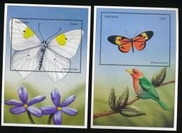 Tanzanie  - 2 Blocs Papillon Oiseaux - ** / MNH - Butterflies