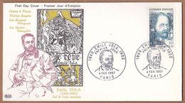 AC - FRANCE FDC - EMILE ZOLA 1840 - 1902 CHEF DE L'ECOLE NATURALISTE PARIS, 04 FEV 1967 - FDC