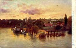 TUCKS OILETTE 1442 - CAVERSHAM - SUNSET ON THE RIVER - Reading
