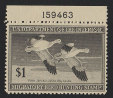 US 1947 Hunting Permit Duck Stamp ScRW14 $1 Black With Plate No. MNH - Duck Stamps