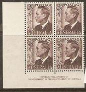 Australia 1949 SG 237c 2,1/2d Corner Block Of Four Mounted Mint. - 1937-52 George VI