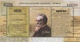 Lietuva Litauen 2016 MNH ** Mi. Nr.  1227-29 Bl.53 Centenary Of Lithuanian State Restoration