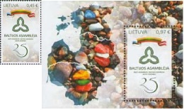 Lietuva Litauen 2016 MNH ** Mi. Nr.  1230-31 Bl.54 25th Anniversary Of Baltic Assembly Joint Issue
