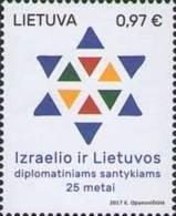 Lietuva Litauen 2017 MNH ** Mi. Nr.  1235 25th Aniv Of Dipl. Relation With Israel