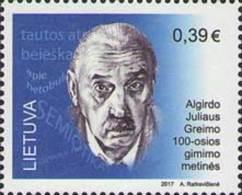 Lietuva Litauen 2017 MNH ** Mi. Nr.  1247 Linguist Algirdas Julien Greimas - Lithuania