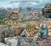 TOGO AFRICA FAUNA DEER MONKEY WILD ASS DONKEY S/S MNH C11 TG11420A - Stamps