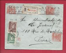 ENVELOPPE PRESSE 1935 REPUBLIQUE URUGUAY Recommandé Timbres Encre Rouge Cachet Cire - Uruguay