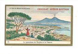 Chromo Italie Naples Et Le Vésuve Le Tour Du Monde Pub: Chocolat Guerin-Boutron 105 X 65 Mm TB - Guérin-Boutron