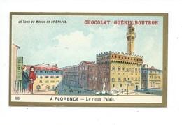 Chromo Italie Florence Vieux Palais Le Tour Du Monde Pub: Chocolat Guerin-Boutron 105 X 65 Mm TB - Guérin-Boutron