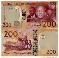 LESOTHO       200 Maloti       P-New       2015       UNC  [sign. Matlanyane] - Lesotho