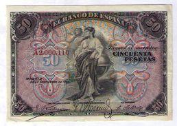 BILLETE DE 50 PESETAS DE 1906 - MUY BONITO - [ 1] …-1931 : Primeros Billetes (Banco De España)