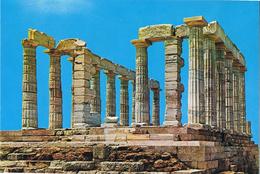24030. Postal CAP SUNION (al Sur De Atenas) Grecia, Templo De Poseidon. Arqueologia - Grecia