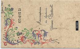 Menu /Anniversaire//Yvonne  Bossuet / René   /Janvier 1981           MENU196 - Menus