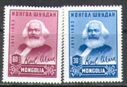 M0191 Karl Marx Kommunism 1963 Mongilia 2v Set MNH ** - Karl Marx