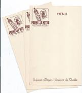 Menu / 3 Menus Vierges Publicitaires/ Prunelle Noyer / La Prunelle Du BERRY/ Liqueurs Noyer/ Vers 1950           MENU198 - Menus