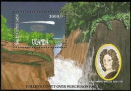 Uganda,  Scott 2017 # 523,  Issued 1986,  S/S Of 1 (w/overprint),  MNH,  Cat $ 6.50,  Halley's Comet - Uganda (1962-...)