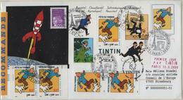 FRANCE 3303 FDC Premier Jour Fête Du Timbre 2000 Enveloppe + Bloc TINTIN HERGE KUIFJE Cachet Paris Recommandé - Bandes Dessinées