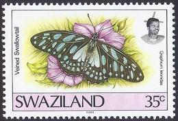 1992 - Veined Swordtail (Graphium Leonidas) - Yt:SZ 605 - MNH - Swaziland (1968-...)