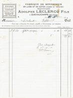 Ancienne Facture Fabrique De Bonneterie  Adolphe Leclerq Quevaucamps 1914 - Bélgica