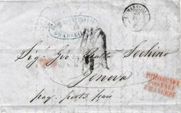 """VM191 - VIA DI MARE - Lettera Da MARSIGLIA A Genova Del 1852 Tassata """"4"""" Soldi Con .""""PIROSCAFI POSTALI FRANCESI""""  Leggi - 1863-1870 Napoléon III Lauré"""