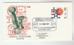 1977 GB Stamps EVENT COVER Inst CHEMISTRY Congress UNIVERSITY COLLEGE London - Chemistry