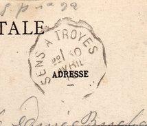 """Cachet  Ambulant """"SENS à TROYES"""" Sur Carte Postale  De Villeneuve L'Archevêque-le Tombeau - Marcophilie (Lettres)"""