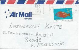 Cocos (Keeling) Islands AirMail Letter Via Macedonia.nice Stamp Motive - Fish - Cocos (Keeling) Islands