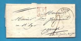 Rhone - Lyon Pour Carouge (canton De Genève, Suisse). 1833 - Marcophilie (Lettres)